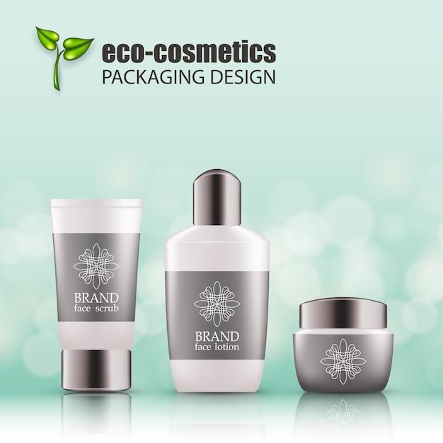 Set di bottiglie di vetro verde realistico eco cosvetica Vettore Premium