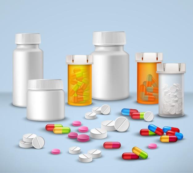 Set di bottiglie pillola Vettore gratuito