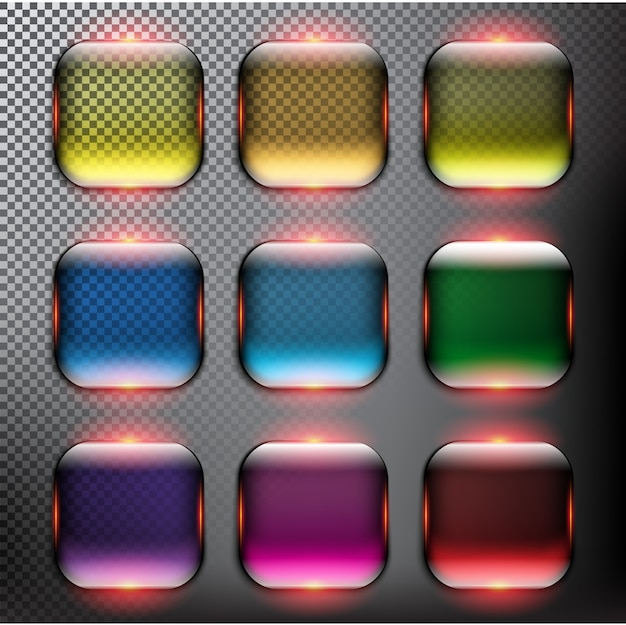 Set di bottoni in vetro Vettore Premium