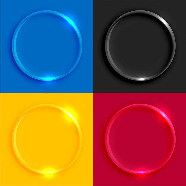 Set di bottoni rotondi in vetro lucido Vettore gratuito