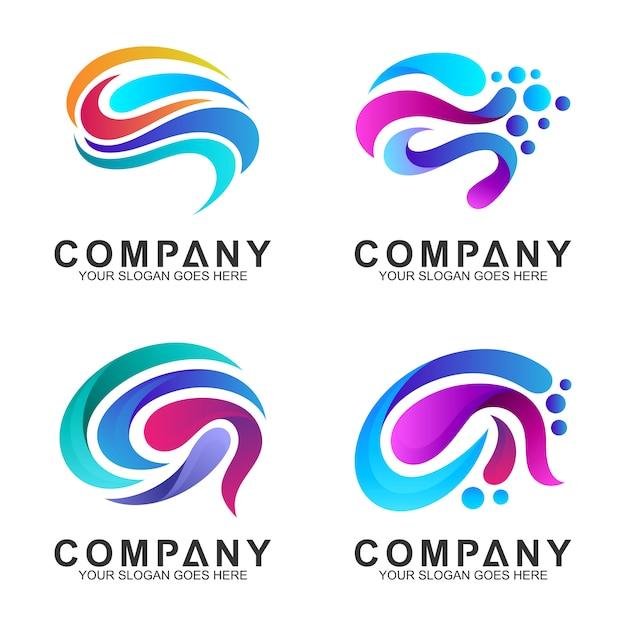 Set di brain logo design inspiration Vettore Premium