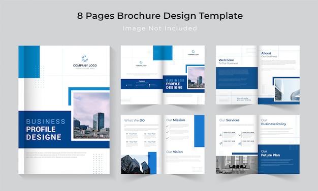 Set di brochure di profilo aziendale classico blu 8 pagine Vettore Premium