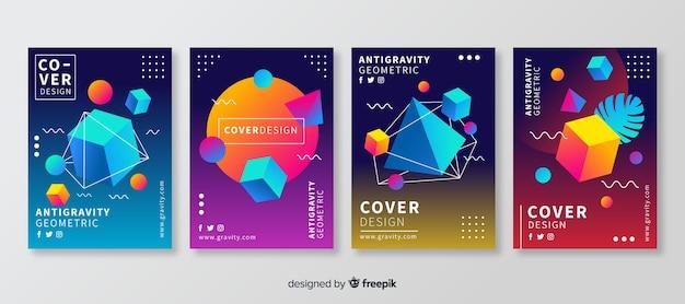 Set di brochure fluttuanti di forme poligonali Vettore gratuito