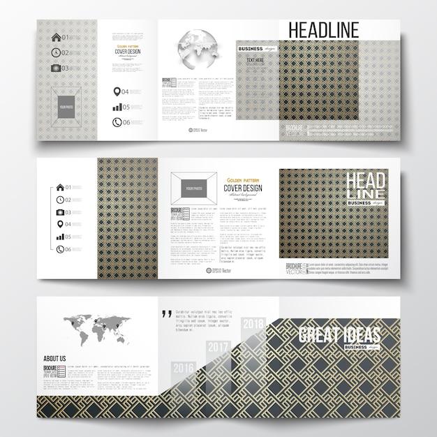 Set di brochure tri-fold, modelli di design quadrati. modello oro islamico Vettore Premium