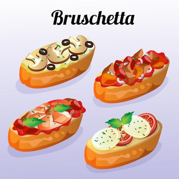 Set di bruschette di cibo italiano Vettore Premium