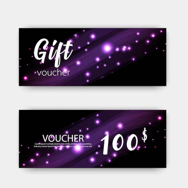 Set di buoni regalo di lusso. design colorato Vettore Premium