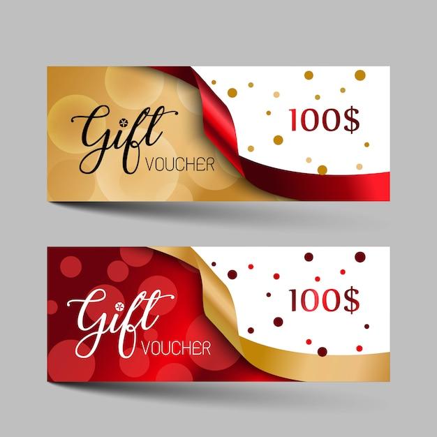 Set di buoni regalo di lusso di san valentino. Vettore Premium