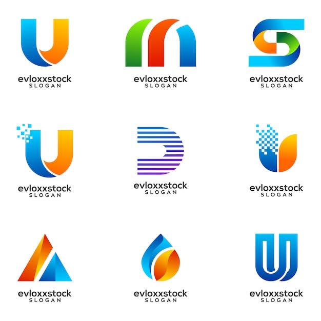 Set di business logo design vettoriale modello Vettore Premium