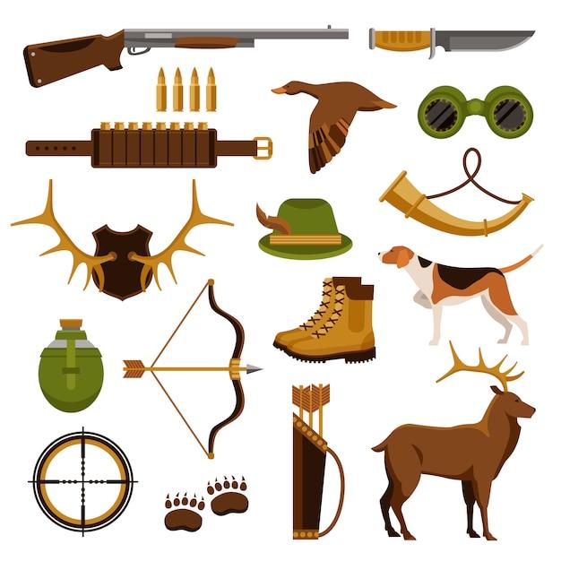 Set di caccia e di caccia Vettore gratuito