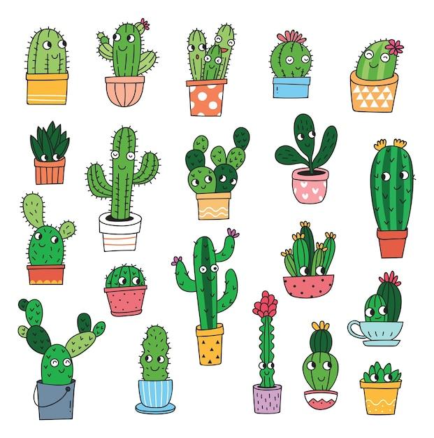 Set Di Cactus Cartoon Isolato Su Sfondo Bianco Scaricare Vettori