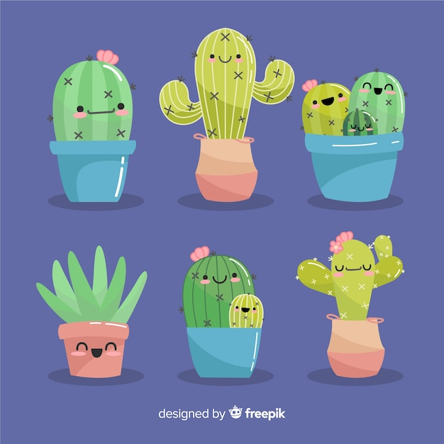 Set di cactus kawaii disegnato a mano Vettore gratuito