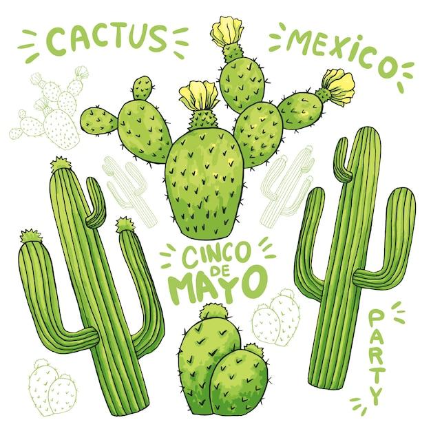 Set di cactus o cactus commestibili per cinco de mayo Vettore gratuito