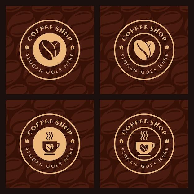 Set di caffè, modello logo caffetteria Vettore Premium