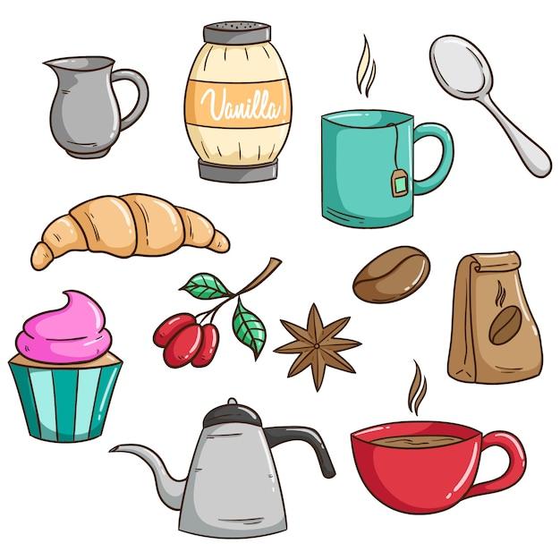 Set di caffè per colazione o pranzo con stile doodle carino Vettore Premium