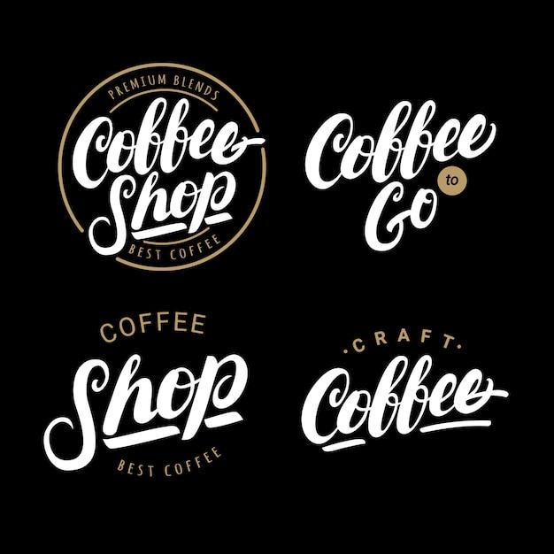 Set di caffè scritte a mano scritte loghi Vettore Premium