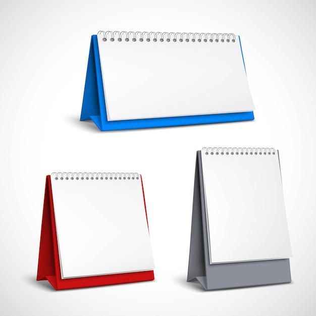 Set di calendari a spirale da tavolo bianco Vettore gratuito