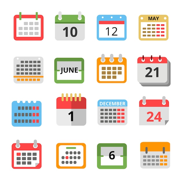 Set di calendari diversi in stile piatto. Vettore Premium
