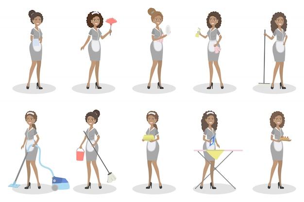 Set di cameriere. donne con attrezzature per la pulizia. Vettore Premium