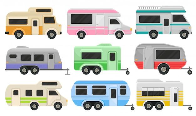 Set di camper e rimorchi classici. veicoli ricreativi. casa delle ruote. auto comfort per viaggi in famiglia Vettore Premium
