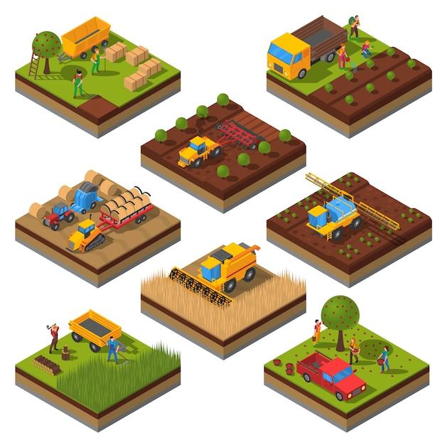 Set di campi isometrici macchine agricole Vettore gratuito