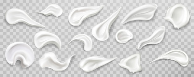 Set di campioni di strisci di crema bianca. Vettore gratuito