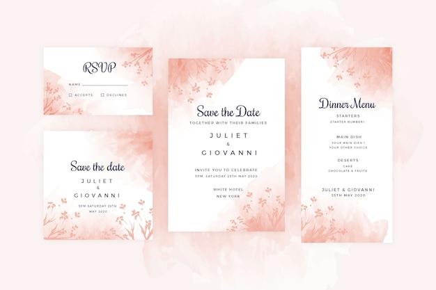 Set di cancelleria per matrimonio in terracotta Vettore gratuito