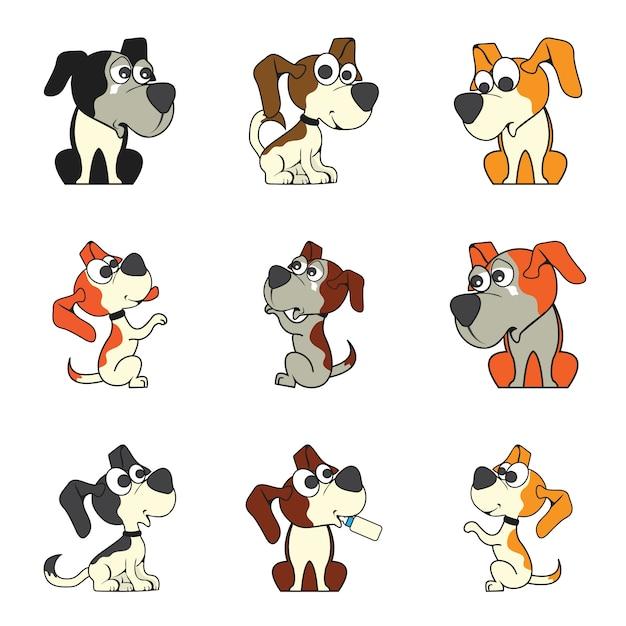 Set di cane cartoon carino Vettore gratuito