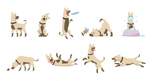 Set di cani dei cartoni animati Vettore Premium