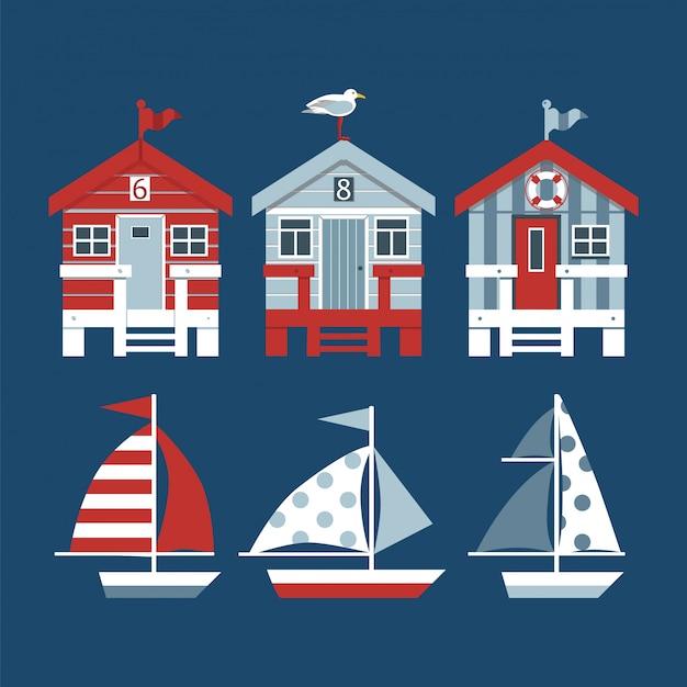 Set di capanne sulla spiaggia e barche. Vettore Premium