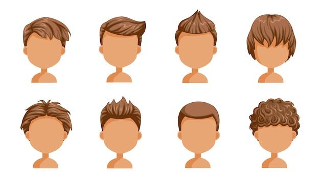 Set di capelli del ragazzo. volto di un ragazzino. acconciatura carina.varietà bambino moda moderna per l'assortimento. capelli lunghi, corti e ricci. acconciature da salone e taglio di capelli alla moda maschile Vettore Premium