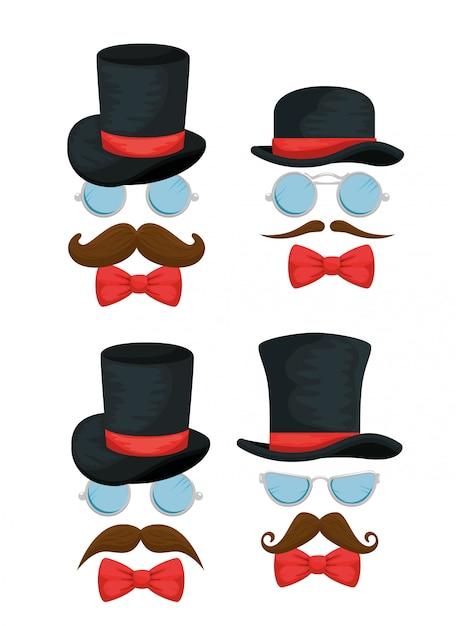 Set di cappello maschile con occhiali, papillon e baffi Vettore gratuito