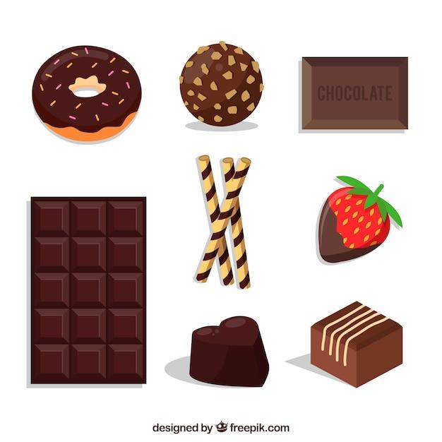 Set di caramelle di cioccolato differenti Vettore gratuito