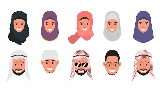 Set di carattere di faccia di emozione araba, musulmana, emirates. Vettore Premium