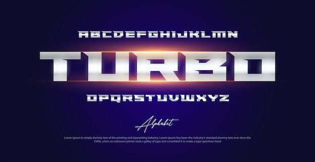 Set di caratteri alfabeto tipografia moderna sport Vettore Premium