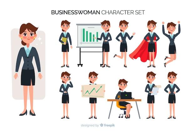 Set di caratteri bella donna d'affari Vettore gratuito