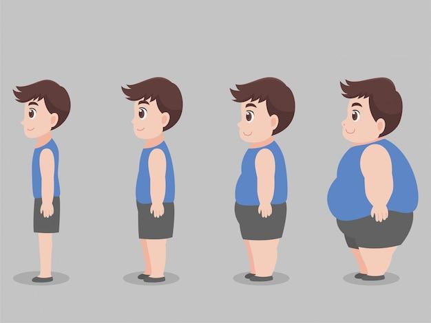 Set di caratteri big fat man per perdere peso dimagrire Vettore Premium
