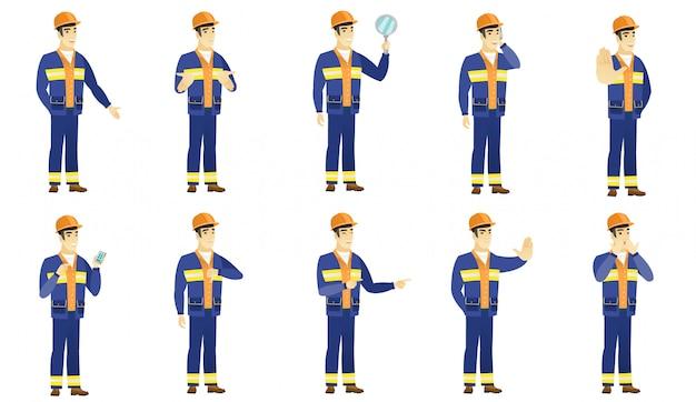 Set di caratteri builder. Vettore Premium