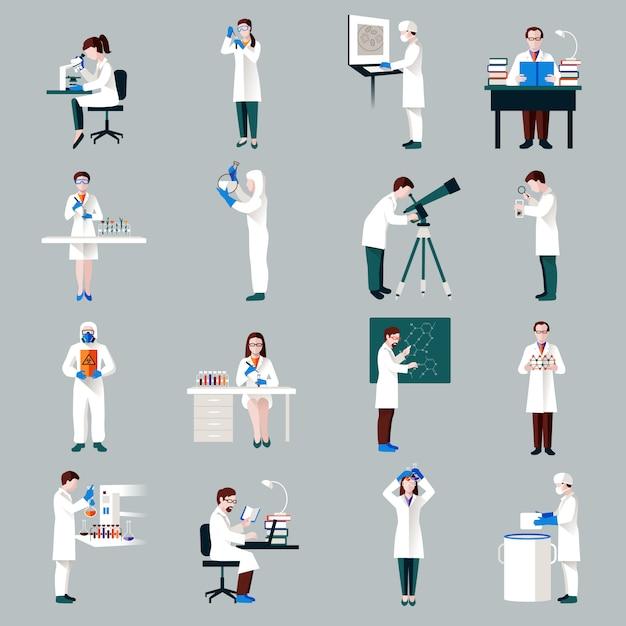 Set di caratteri degli scienziati Vettore gratuito
