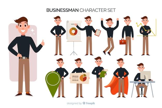 Set di caratteri del bel uomo d'affari Vettore gratuito