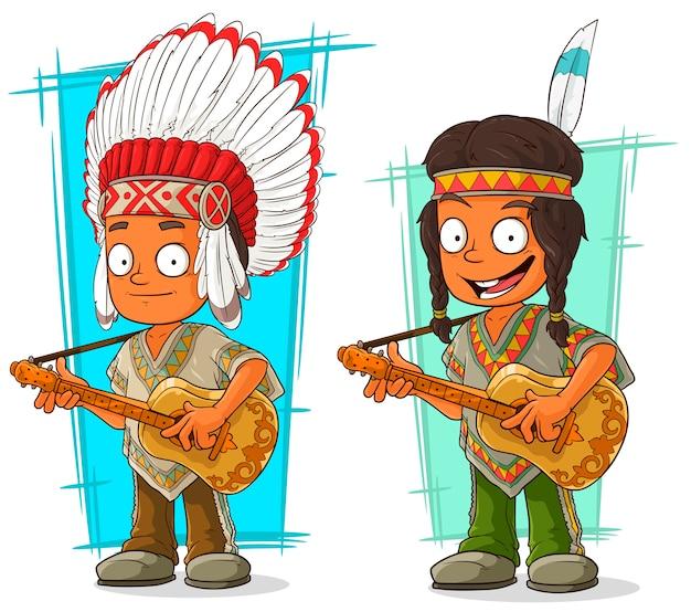 Set di caratteri del capo e del ragazzo indiani del fumetto Vettore Premium