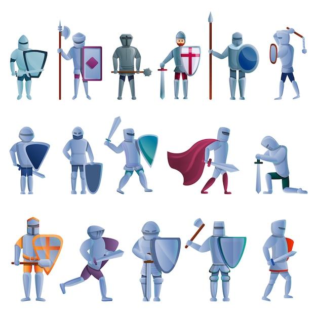 Set di caratteri del cavaliere, stile cartoon Vettore Premium