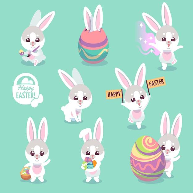 Set di caratteri del coniglietto di pasqua Vettore Premium