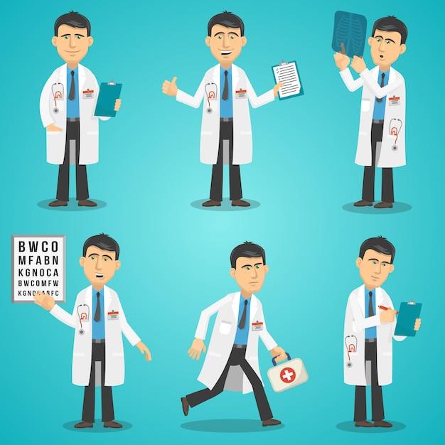 Set di caratteri del dottore Vettore gratuito