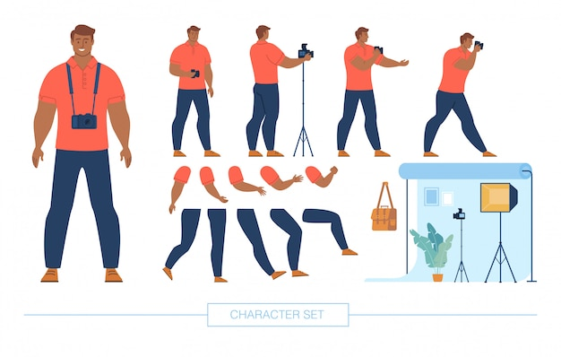 Set di caratteri del fotografo character constructor Vettore Premium