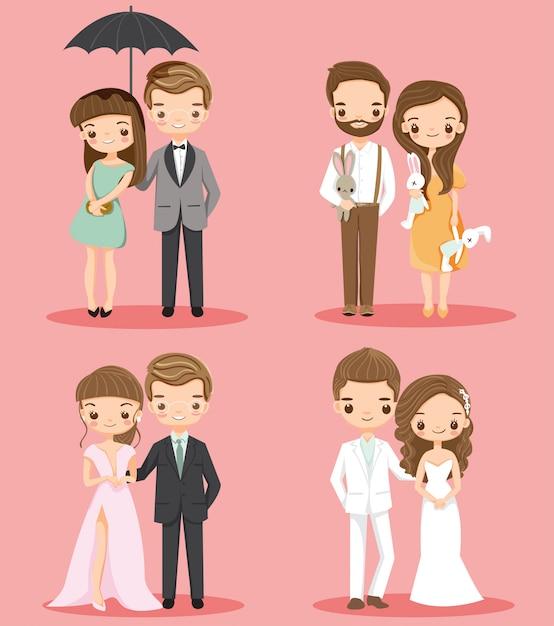 Set di caratteri del fumetto carino coppia romantica Vettore Premium