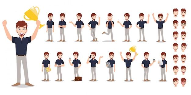 Set di caratteri del fumetto dell'uomo d'affari. uomo bello di affari che lavora nell'ufficio e nella presentazione in varia azione. Vettore Premium