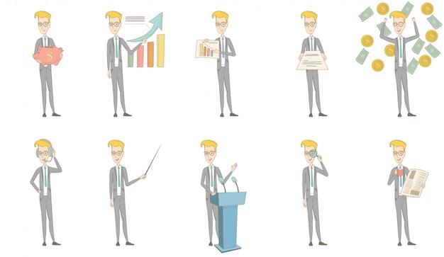 Set di caratteri dell'uomo d'affari caucasico Vettore Premium