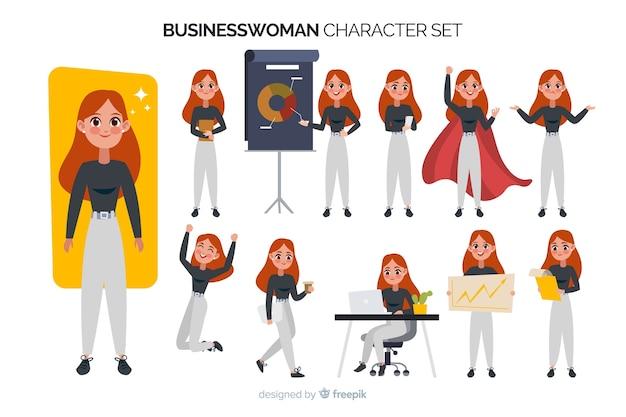 Set di caratteri della donna di affari Vettore gratuito