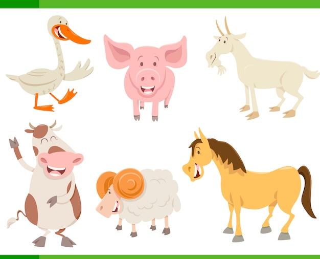 Set di caratteri di animali della fattoria Vettore Premium