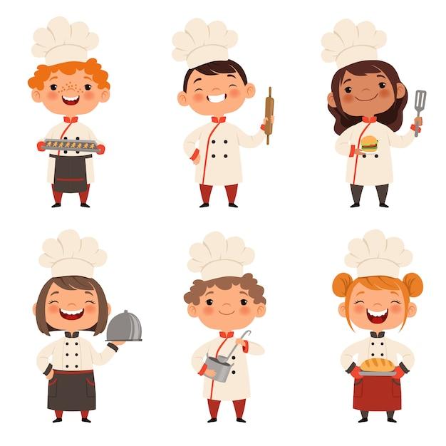 Set di caratteri di bambini cuochi Vettore Premium